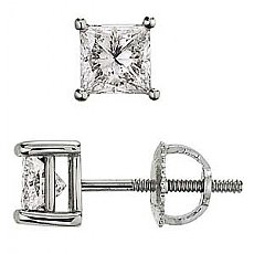 0.75Ct Princess Cut Diamond Stud Earrings 14k White Gold