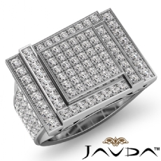 Luxurious Hip Hop Style Heavy Mens Diamond Ring Filigree 14k White Gold 2.12Ct