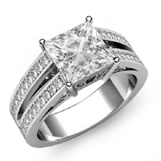 Classic Filigree Split Shank Princess diamond engagement Ring in 14k Gold White