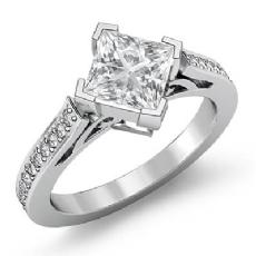 Kite Shape Filigree Pave Set Princess diamond engagement Ring in 14k Gold White