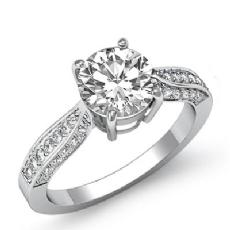 Basket Classic Sidestone Round diamond engagement Ring in 14k Gold White