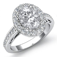 Filigree Basket Halo Pave Oval diamond engagement Ring in 14k Gold White