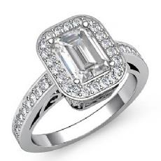 Vintage Halo Sidestone Pave Emerald diamond engagement Ring in 14k Gold White