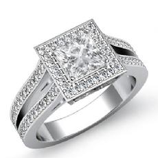 Filigree Split Shank Halo Pave Princess diamond engagement Ring in 14k Gold White