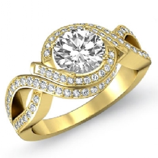 XOXO Style Micro Pave Setting Round diamond engagement Ring in 18k Gold Yellow