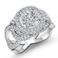 Twisted Shank Halo Pave Cushion diamond engagement Ring in 14k Gold White