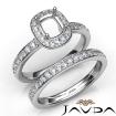 Cushion Halo Diamond Semi Mount Engagement Ring Bridal Set 14k White Gold 0.95Ct - javda.com