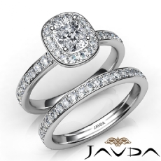 Classic Halo Pave Bridal Set Cushion diamond engagement Ring in 14k Gold White