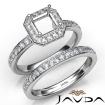 Asscher Halo Diamond Semi Mount Engagement Ring Bridal Set 14k White Gold 0.95Ct - javda.com