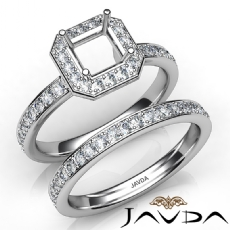 Asscher Halo Diamond Semi Mount Engagement Ring Bridal Set 14K White Gold 0.95Ct