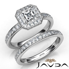 Pave Setting Halo Bridal Set Asscher diamond engagement Ring in 14k Gold White