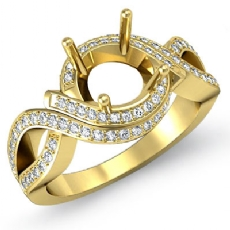 Diamond Antique Engagement Ring 14k Gold Yellow Round Semi Mount Halo Setting (1Ct. tw.)