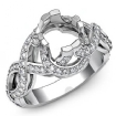 Diamond Antique Engagement Setting Ring Round Semi Mount Hand Pave Sets 14k White Gold 1Ct - javda.com