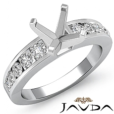 0.70 Ct Diamond Solitaire Engagement Asscher Semi Mount Ring Setting 14k White Gold