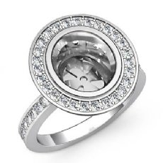 1.25Ct Diamond Engagement Ring Oval Shape Semi Mount Halo Setting 14k White Gold