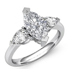 3 Stone Basket Style Marquise diamond engagement Ring in 14k Gold White