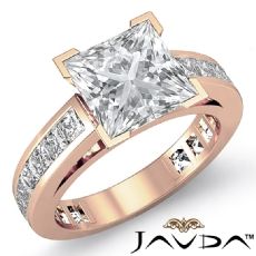 Channel-Set 4 Prong Peg Head Princess diamond engagement Ring in 14k Rose Gold