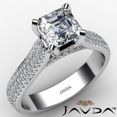 Micro Pave Set Bridge Accent Asscher diamond engagement Ring in 14k Gold White