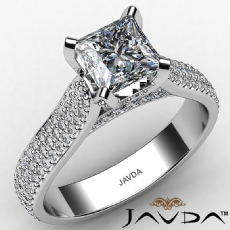 Micro Pave Set Bridge Accent diamond Ring 14k Gold White