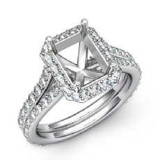 1.2C Diamond Radiant Semi Mount Engagement Ring Halo Pave Setting 14k White Gold