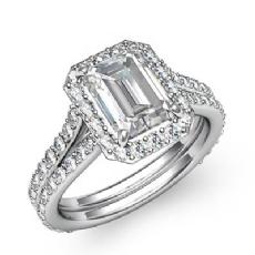 Pave Setting Split Shank Emerald diamond engagement Ring in 14k Gold White