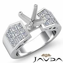 0.84Ct Princess Diamond Engagement Women Ring Invisible Semi Mount 14k White Gold