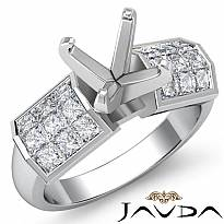 1.06Ct Princess Diamond Engagement Women's Ring Invisible Setting 14k White Gold