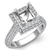 1.4Ct Diamond Engagement Princess Cut Ring 14k White Gold Halo Setting SemiMount - javda.com