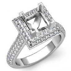 1.4Ct Diamond Engagement Princess Cut Ring 14K White Gold Halo Setting SemiMount
