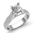 Halo Pave Setting Diamond Engagement Round Semi Mount Ring 14k White Gold 1.45Ct - javda.com