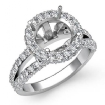 Diamond Engagement Ring Round Semi Mount 14k White Gold Halo Pave Setting 1.4Ct - javda.com