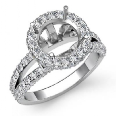 Diamond Engagement Ring Round Semi Mount 14K White Gold Halo Pave Setting 1.4Ct