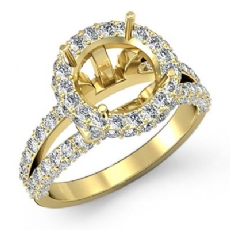 Diamond Engagement Ring Round Semi Mount 14k Gold Yellow Halo Pave Setting  (1.4Ct. tw.)