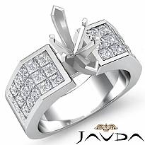 1.54Ct Princess Invisible Diamond Engagement Women Ring 14k White Gold SemiMount