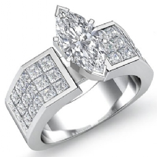Sidestone Invisible Set Shank Marquise diamond engagement Ring in 14k Gold White