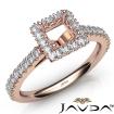 French Cut Pave Set Diamond Engagement Princess Semi Mount Ring 14k Rose Gold 1Ct - javda.com