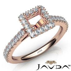 French Cut Pave Set Diamond Engagement Princess Semi Mount Ring 14k Rose Gold  (1Ct. tw.)
