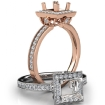 Halo Pave Set Diamond Engagement 14k Rose Gold Princess Semi Mount Ring 0.5Ct - javda.com