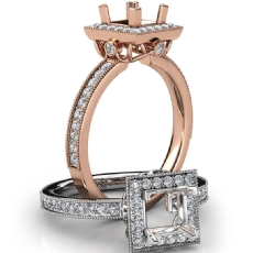 Halo Pave Set Diamond Engagement 14k Rose Gold Princess Semi Mount Ring  (0.5Ct. tw.)