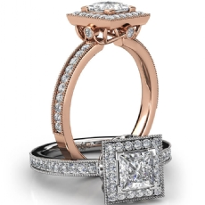 Princess diamond  Ring in 14k Rose Gold