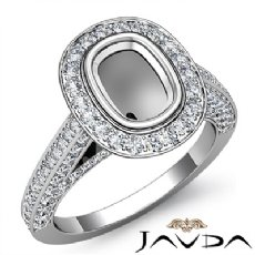 Diamond Engagement Ring Cushion Semi Mount Bezel Setting 14k White Gold 1.7Ct