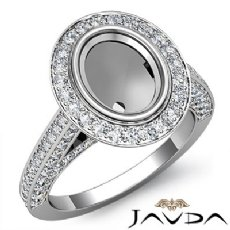 Diamond Engagement Ring Oval Cut Semi Mount Bezel Setting 14k White Gold 1.7Ct