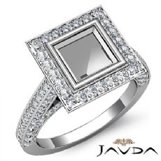 Diamond Engagement Ring Princess Semi Mount Bezel Setting 14k White Gold 1.7Ct