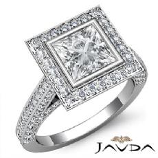 Bezel Halo Bridge Accent Princess diamond engagement Ring in 14k Gold White