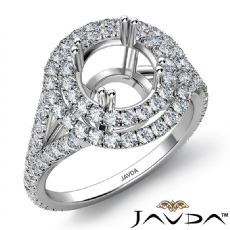 Round Semi Mount U Split Cut Diamond Engagement Ring 14k White Gold 1.40 Carat