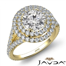 Double Halo Split Shank Round diamond engagement Ring in 14k Gold Yellow
