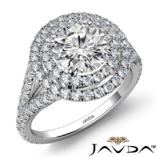 Double Halo Split Shank Round diamond engagement Ring in 14k Gold White