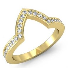 Pave Diamond Wedding Band Matching Set 18k Gold Yellow (0.5Ct. tw.)