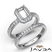 Emerald Halo Diamond Semi Mount Engagement Ring Bridal Set 14k White Gold 0.95Ct - javda.com