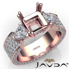3Stone Diamond Engagement Ring Setting 14k Rose Gold Princess Semi Mount  (2.4Ct. tw.)